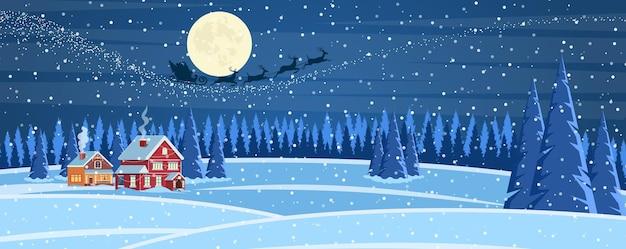 Kerstlandschapsachtergrond met sneeuw en boom