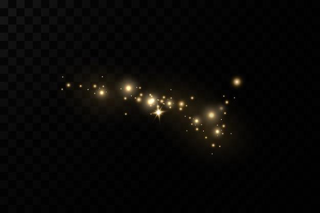 Kerstlichteffect sprankelende magische stofdeeltjes de stofvonken en gouden sterren schijnen met speciaal licht