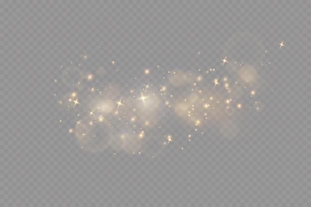 Kerstlichteffect sprankelende magische stofdeeltjesde stofvonken en gouden sterren schitteren