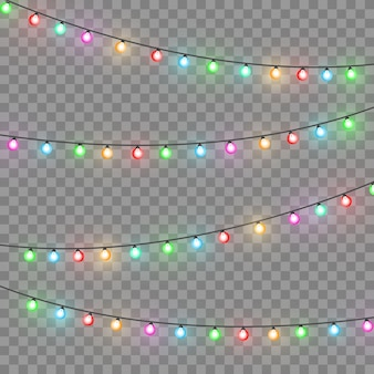 Kerstlichten. kleurrijke heldere kerstslinger. kleuren slingers, rode, gele, blauwe en groene gloeilampen. neon verlichte leds op transparante achtergrond. vector illustratie