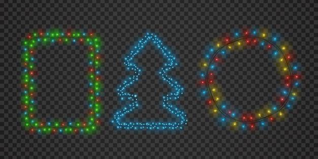 Kerstlichtslingerframes in ronde, vierkante en boomvorm. xmas gloed rand decoratie voor vakantiegroeten. lichten krans vector set