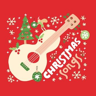 Kerstliedjes gitaar op rode achtergrond