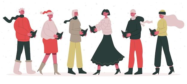 Kerstliedkoor mannelijke en vrouwelijke zingende karakters xmas straatlied zanger cartoon vector set