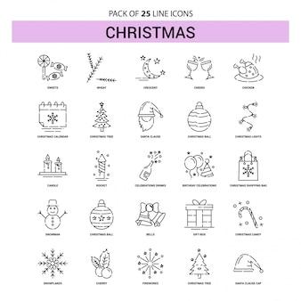 Kerstlijn icon set - 25 gestippelde overzichtsstijl