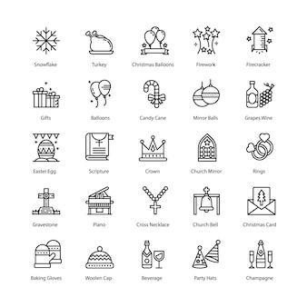 Kerstlijn icons set