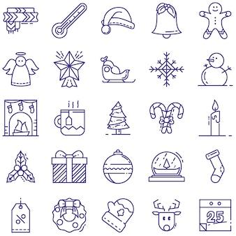 Kerstlijnpictogrammen