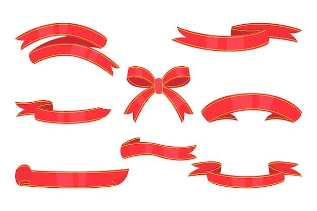 Kerstlintcollectie in plat ontwerp