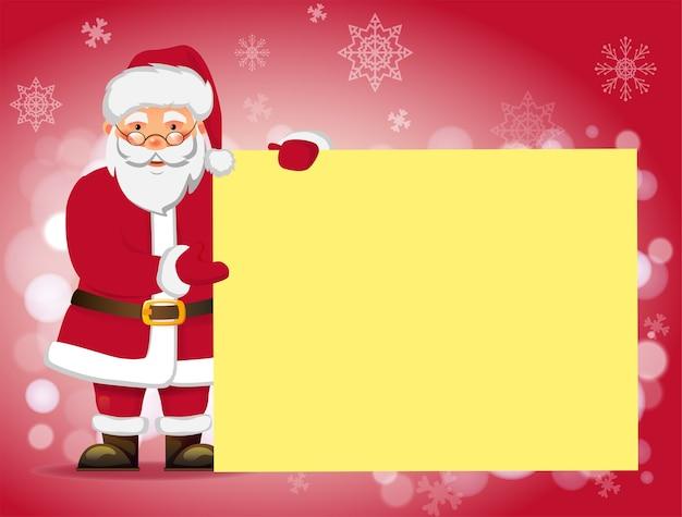 Kerstman bedrijf wenskaart. kerstman met prikbord