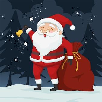 Kerstman bellende bel illustratie