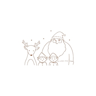 Kerstman bende, handgetekende lijn art stijl illustratie.
