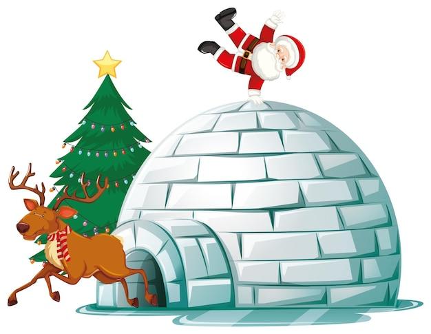 Kerstman bovenop iglo