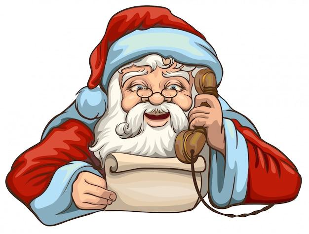 Kerstman die brief lezen en op telefoon spreken