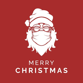 Kerstman die een gezichtsmasker draagt en vrolijk kerstfeest zegt