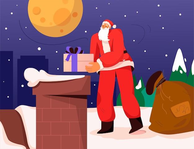 Kerstman die geschenken vasthoudt en bij de schoorsteen staat