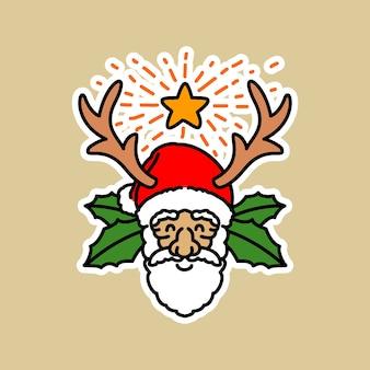 Kerstman die gewei hoofd dragen
