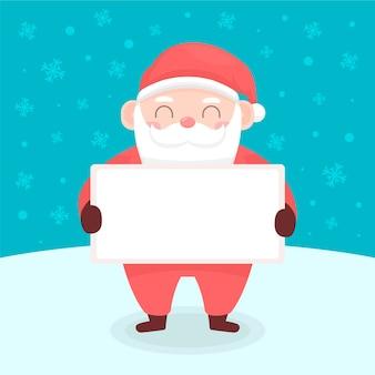 Kerstman die lege banner houdt