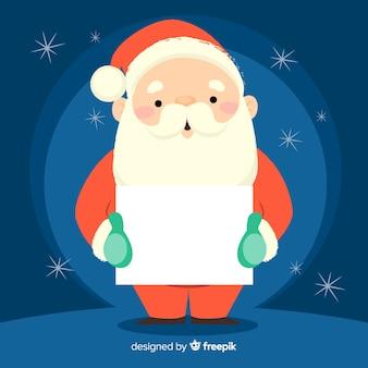Kerstman die lege tekenachtergrond houden