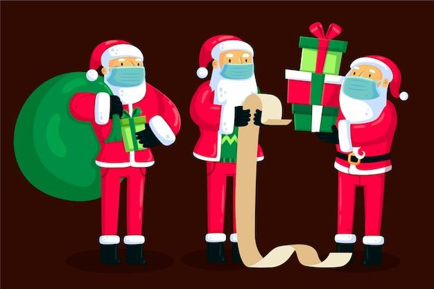 Kerstman die medisch masker draagt