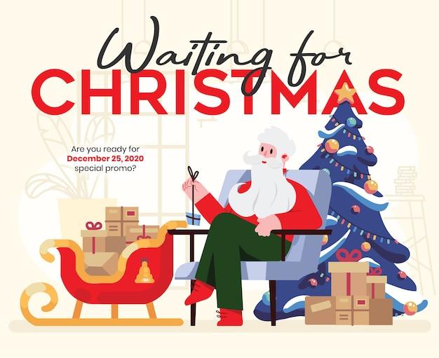 Kerstman die op kerstmis wachten