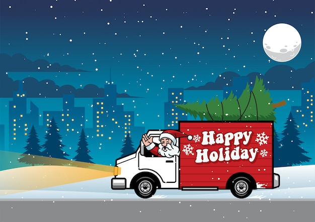 Kerstman die vrachtwagen in de nacht berijden
