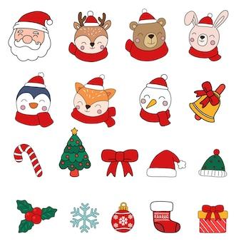 Kerstman & dieren clipart, vrolijk kerstfeest