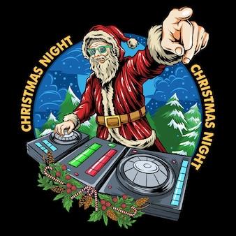 Kerstman dj kerstfeest in de club edm muziekfeest kerstavond