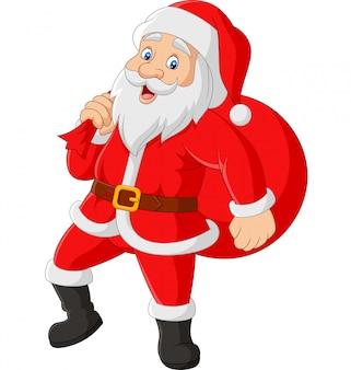 Kerstman draagt een zak met cadeautjes