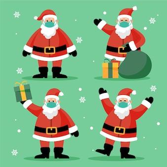 Kerstman draagt gezichtsmasker collectie