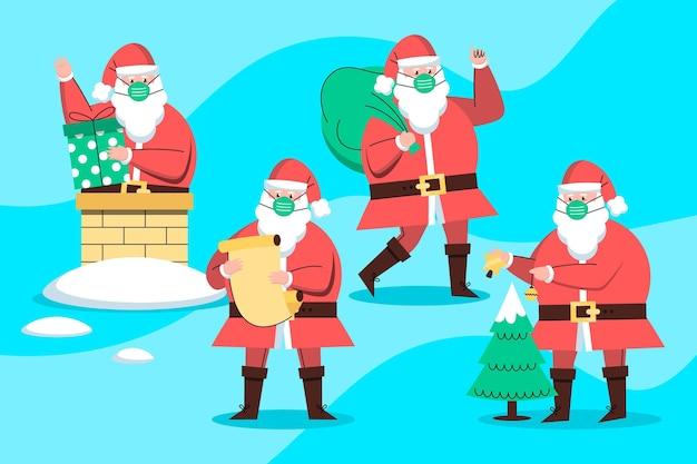 Kerstman draagt gezichtsmasker