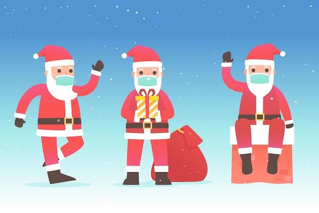 Kerstman draagt medische masker set