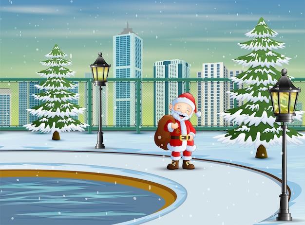 Kerstman draagt zak met geschenken voor kinderen