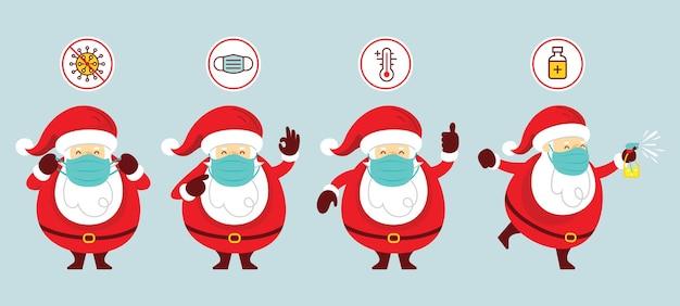 Kerstman dragen gezichtsmasker tekens instellen