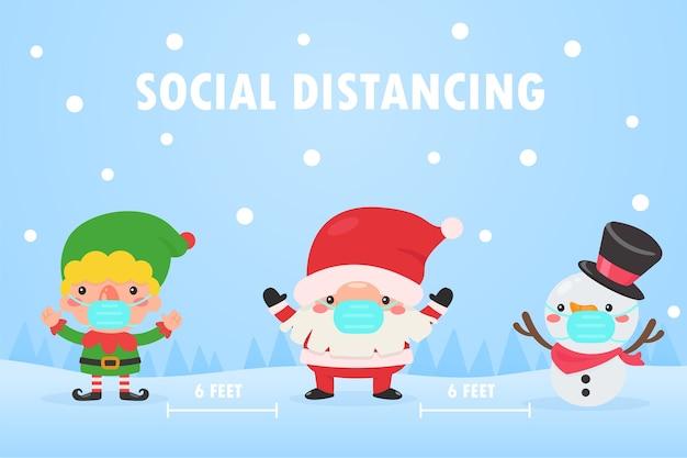 Kerstman, elf en sneeuwman dragen maskers en laten sociale ruimte om de corona tijdens kerstmis te voorkomen.