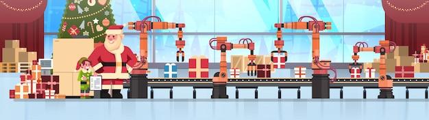 Kerstman elf helper houden checklist transportsysteem industrie