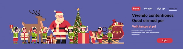 Kerstman elfen rendieren in de buurt van dennenboom decoratie geschenkdoos kerstvakantie nieuwjaar