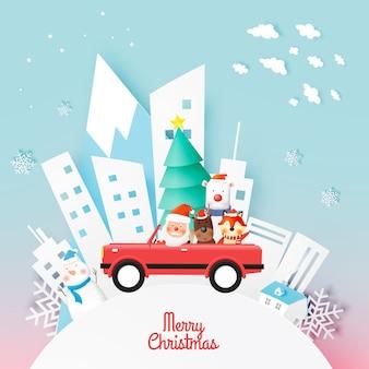 Kerstman en bende van dieren met mooie achtergrond in papierkunst