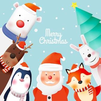 Kerstman en bende van dierenfeest met heel schattig karakter in papierkunst