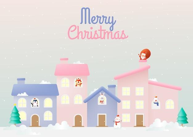 Kerstman en bende van dierenfeest met heel schattig karakterontwerp en pastelkleuren