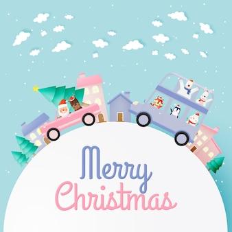 Kerstman en bende van dierenfeest met heel schattig karakterontwerp in papierkunst en pastelkleur