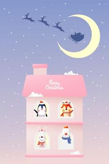 Kerstman en bende van dierlijk schattig karakterontwerp en pastelkleuren