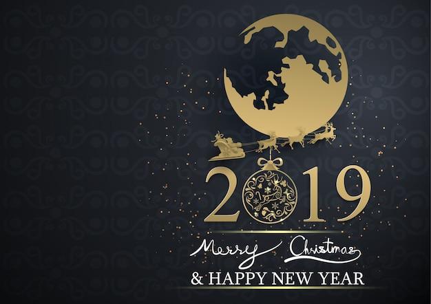 Kerstman en de maan met tekst 2019 vrolijke kerstmis