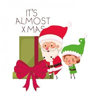 Kerstman en elf met geschenkdoos