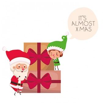Kerstman en elf met geschenkdozen
