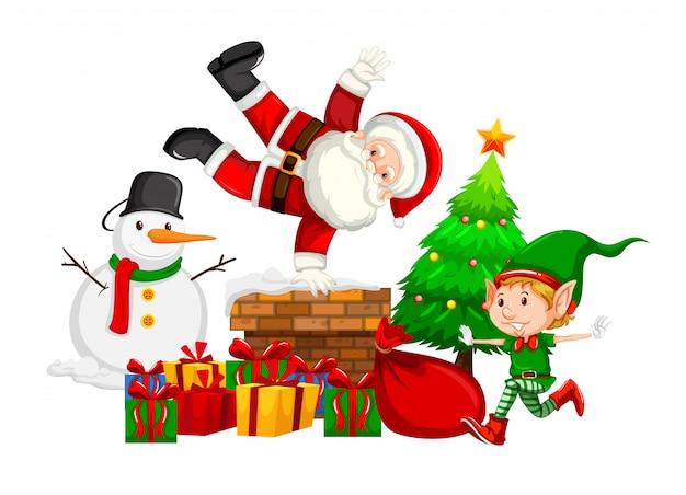 Kerstman en elf op schoorsteen