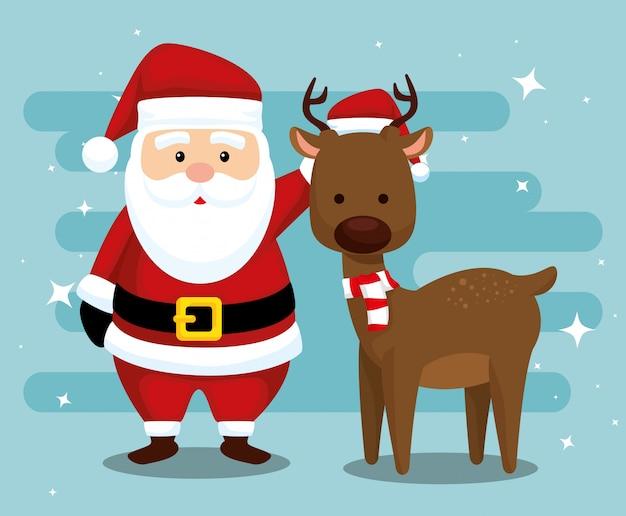 Kerstman en herten met hoed en sjaal