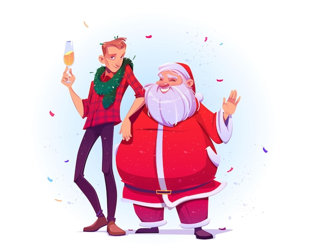 Kerstman en jonge man met champagne vieren kerstmis en nieuwjaar.