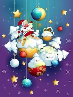 Kerstman en kerstballen.