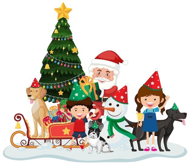 Kerstman en kinderen vieren kerstmis geïsoleerd