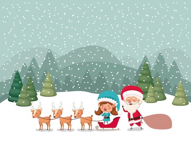 Kerstman en meisje helper met slee en rendieren