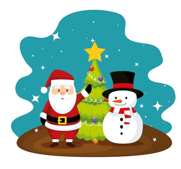 Kerstman en pijnboomboom met sneeuwman